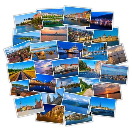 Foto de Set of colorful European travel photos isolated on white background - Imagen libre de derechos