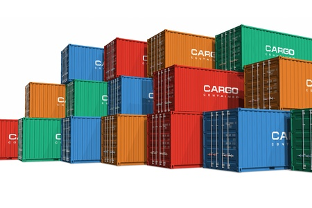 Photo pour Stacked color cargo containers isolated on white background - image libre de droit