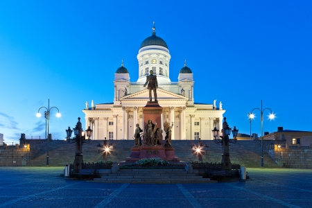 Famous landmark in Finnish capital: Senate Square with Lutheran cathedral and monument to Russian emperor Alexander II