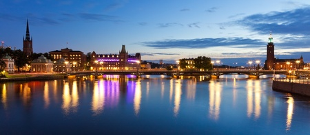 Scenic evening panorama of the Old Town (Gamla Stan) in Stockholm, Sweden