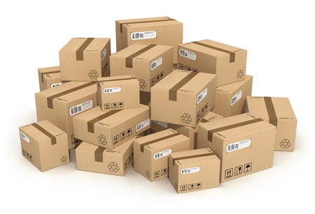 Photo pour Heap of cardboard boxes isolated on white background - image libre de droit