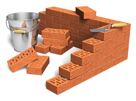 Construction industry concept: fragment of red brick wall, heap of bricks, trowel and metal bucket isolated on white background