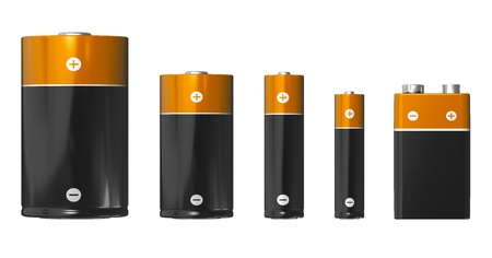 Set of different sizes of batteries (from left to right): D, C, AA, AAA and PP3 (9V) isolated on white background
