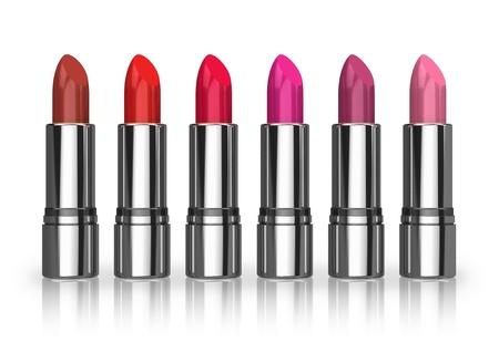 Set of red lipsticks isolated on white reflective background