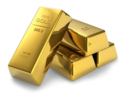 Set of gold bars isolated on white background