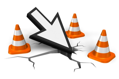 Computer error concept: mouse pointer in crack with orange traffic cones isolated on white background