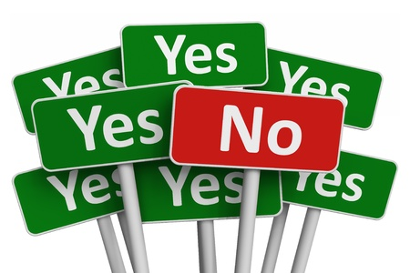 Voting concept: No sign among group of Yes signs isolated on white background
