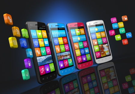Mobile communications and social networking concept  row of touchscreen smartphones with cloud of application icons isolated on black background with reflection effect