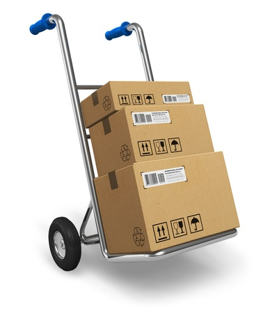 Foto de Metal hand truck with cardboard package boxes isolated on white background     - Imagen libre de derechos