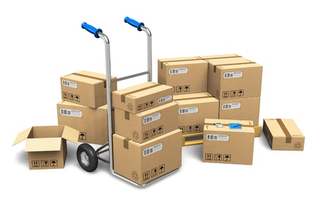 Foto de Heap of cardboard boxes with packaged goods and hand truck isolated on white background     NOTE  Design is my own and all text labels, numbers and barcodes are fully fictional - Imagen libre de derechos