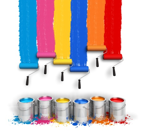 Creativity concept  set of color roller brushes with trails of paint on the wall and metal cans with oil paint isolated on white background