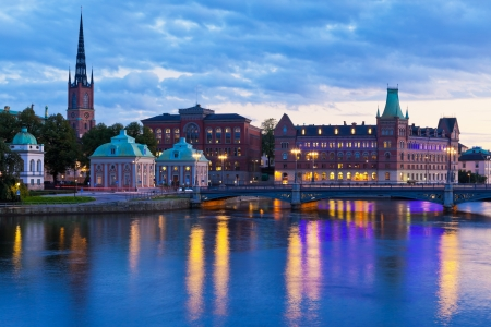 Scenic evening panorama of the Old Town  Gamla Stan  in Stockholm, Sweden