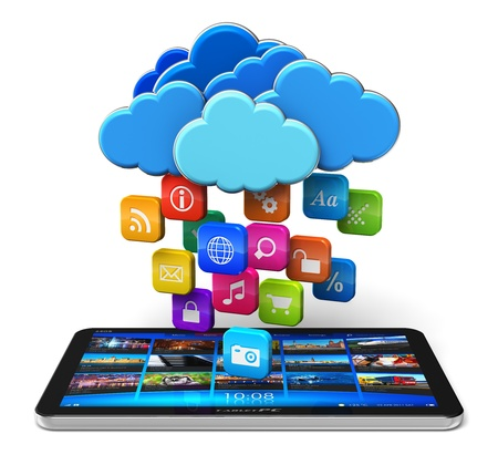 Cloud computing and mobility concept - tablet PC and blue glossy clouds with lot of color application icons isolated on white background  Design and all used photos are my own and all text labels and numbers are fully abstract