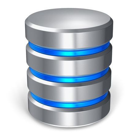 Hard disk and database icon isolated on white background