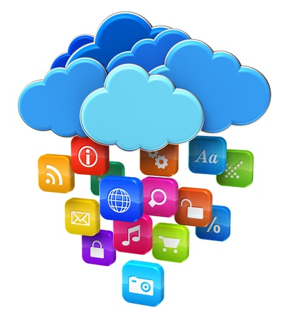 Cloud computing and mobility concept  blue glossy clouds with lot of color application icons isolated on white background