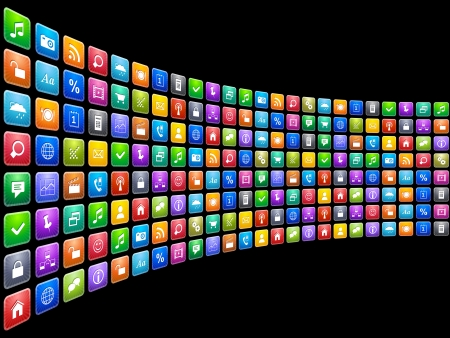 Photo pour Mobile applications concept  endless row of colorful app icons isolated on black background - image libre de droit