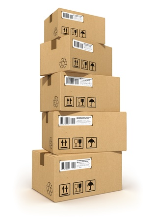 Stack of cardboard boxes isolated on white background  All text labels, numbers and barcodes on cardboard boxes are fully abstract