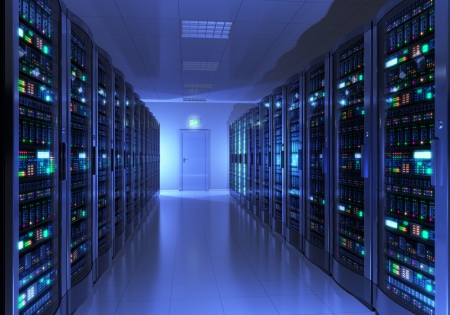Photo pour Modern interior of server room in datacenter  Design is my own and all text labels and numbers are fully abstract - image libre de droit