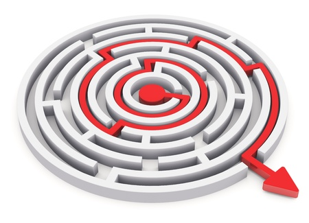 Photo for Solved round circle labyrinth with red path with arrow isolated on white background - Royalty Free Image