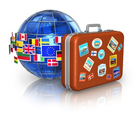 Travel around the world and tourism concept  leather travel case and blue Earth globe with group of colorful flags