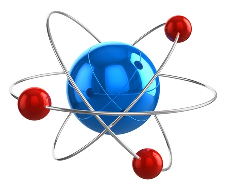 Abstract 3D atom model isolated on white background
