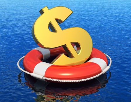Financial crisis concept  golden dollar symbol in lifesaver belt floating on blue water surface with reflection effect