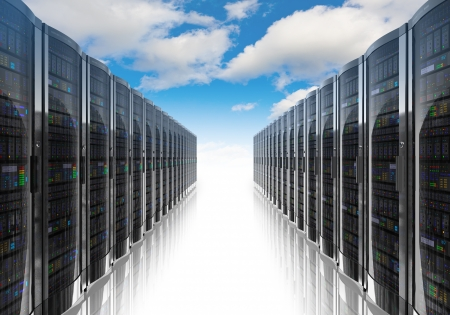 Photo for Cloud computing and computer networking concept  rows of network servers against blue sky with clouds   - Royalty Free Image