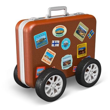 Travel around the world and tourism concept  leather travel case with label tags and car wheels isolated on white background   All photos used here  are my own from my own portfolio