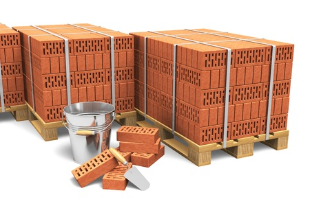 Building and construction industry concept  group of wooden shipping pallets full of red bricks and construction tools isolated on white background