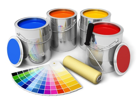 Foto de Cans with color paint, roller brush and color guide isolated on white background - Imagen libre de derechos