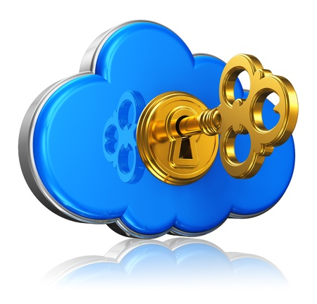 Cloud computing and storage security concept  blue glossy cloud icon with with golden key in keyhole isolated on white background with reflection effect