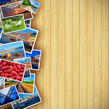 Foto de Creative photo gallery concept - collection of colorful photos on background made from wooden planks  All photos used here are my own from my own portfolio - Imagen libre de derechos