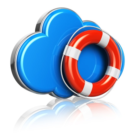 Cloud computing and storage security concept: blue glossy cloud icon with red lifesaver belt isolated on white background with reflection effect