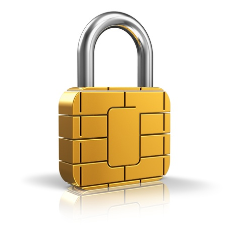Photo pour SIM card or credit card security concept  golden padlock from card microchip isolated on white background with reflection effect - image libre de droit