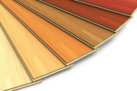 Set of wooden laminated construction planks isolated on white background