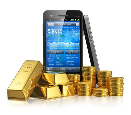 Creative business financial corporate stock exchange trading and making money and profit investment concept  black glossy touchscreen smartphone with stock market application, golden ingots and gold coins  Design is my own and totally original