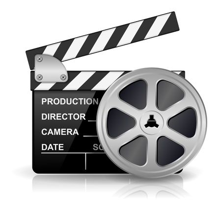 illustration of black clapper board for film, movie and cinema production isolated on white background with reflection effect