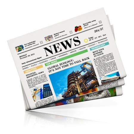 Heap of newspapers with business news isolated on white background with reflection effect  Design is my own and all text labels are fully abstract