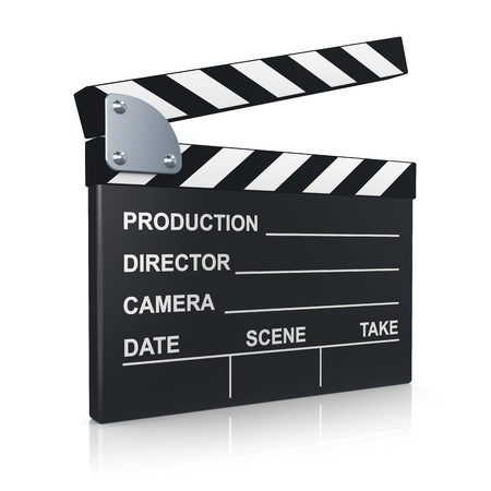 Black clapper board for film, movie and cinema production isolated on white background with reflection effect