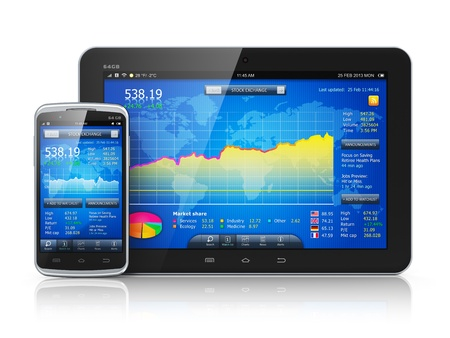 Mobile business concept  stock exchange market application on modern black blossy touchscreen smartphone and tablet PC computer