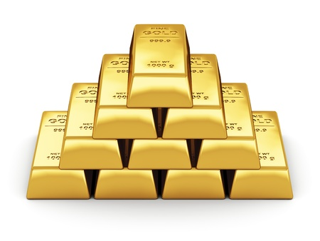 Business financial banking concept  set of gold bars isolated on white background