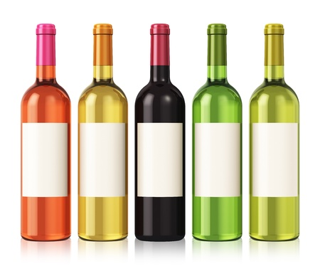 Set of color wine bottles with blank labels isolated on white background with reflection effect