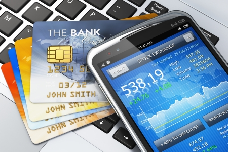 Mobile banking, finance and making money concept