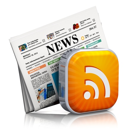 Internet news and web RSS concept  orange RSS symbol and stack of business newspapers isolated on white background with reflection effect  Design is my own and all text labels and numbers are fully abstract