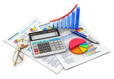 Business finance, tax, accounting, statistics and analytic research concept  office electronic calculator, bar graph and pie diagram, glasses and pen on financial reports with colorful data isolated on white background  Design is my own