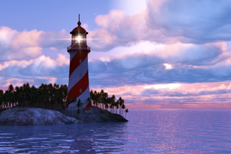 Foto de Beautiful scenery of dramatic sunset with lighthouse on island in sea - Imagen libre de derechos