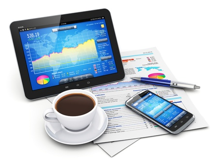 Mobility, business office, paperwork and finance concept  tablet PC and modern black glossy touchscreen smartphone with stock exchange market application on screen, cup of black fresh coffee, pen and documents with financial corporate charts, diagrams and