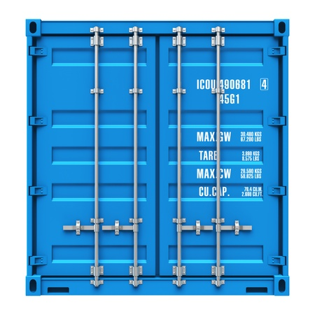 Foto de Side profile view of blue cargo freight container isolated on white background  Design is my own and all text labels are fully abstract - Imagen libre de derechos