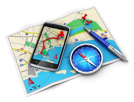 Photo pour Mobile GPS navigation, travel and tourism concept  modern black glossy touchscreen smartphone with GPS navigation application, magnetic compass, pen and group of pushpins on city map isolated on white background  Design is my own and all text is abstract - image libre de droit