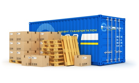 Cargo, freight transportation, shipping, logistics, delivery and distribution concept: blue metal cargo container and stacks of cardboard boxes on wooden shipping pallets isolated on white background. Design is my own and all text labels are abstract